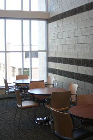 A lounge the new Nursing Building at Northeast Community College