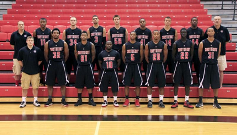 Front row (from left) Zach Towle, assistant coach, Khapri Alston, Jabbar Washington, Junior Denis, Anthony Woods, Dionte Smith, Buay Tuach, and Oral Rahming. Back row (from left) Adam Blaylock, assistant coach, Chima Moneke, Kyle Kilgore, Lyle Hexom, Brendon Normile (no longer on the team), Sheed Fairely, Jesse Brown, Demarcus Cunningham, and Dan Anderson, head coach. (Courtesy Photo)