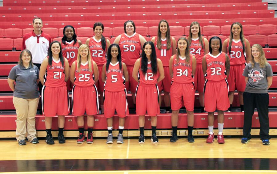 Front row (from left) Michelle Seagren, athletic trainer, Lexi Murphy, Jordyn Berglund, Olivia Schneiders, Megan Trinder, Ena Viso, Jamea Coleman, and Elizabeth Deines, student manager. Back row (from left) Matt Svehla, head coach, Debinique Knowles, Alison Klostergaard, Amelia Allington, Yasmin Miller, Annie Szczepaniak, , Emily Gamble. Not pictured: Mike Cooper, assistant coach. (Courtesy Photo).