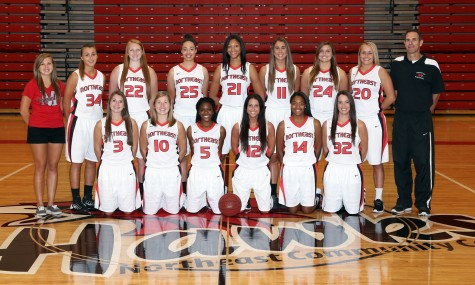 Members of the Northeast Community College 2014-15 women's basketball team include (front row, from left) Brooke Bauer, O'Neill; Cameron Eddie, Belden; Octavia McGraw, Omaha; Megan Trinder, Hollywell, Qld, Australia; Jayla Mayes-Jackson, Minneapolis, MN; and Kara Valasek, Palmer. Back row (from left) Jordyn Berglund, student manager, Ena Viso, Copenhagen, Denmark; Hannah Riley, Richmond Hill, GA; Sydney Koel, Sioux Falls, SD; Janea Bunn, Springfield, MA; Yasmin Miller, Mountain Creek, Qld, Australia; Annie Szczepaniak, Bellevue; Allie Millard, Valentine; and Matt Svehla, head coach. Not pictured, Dr. Michael Cooper, assistant coach. (Courtesy Northeast Community College)