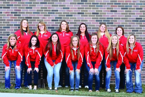 Members of the Northeast Community College softball team include (front row, from left) Paige Schmidt, Kelsie Myers, Kianna Garza, Leah Grovijohn, Amy Rogers, Alyson Romey and Lindsey Kvidera. Back row (from left) Logan Runge, Ashley Gilsdorf, Kylie Givens, Hunter McCarter, Madison Oltjenbruns  and Tiffini Lierman, student manager. (Courtesy Photo)