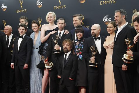 """The """"Game of Thrones"""" cast backstage at the 68th Primetime Emmy Awards at the Microsoft Theater in Los Angeles on Sunday, Sept. 18, 2016. (Allen J. Schaben/Los Angeles Times/TNS)"""