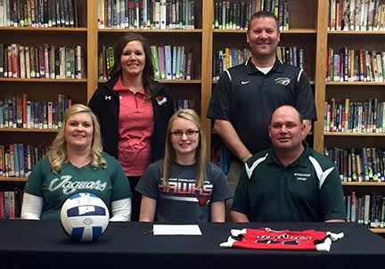 Samantha Brester, of Howells-Dodge High School, has signed to play volleyball for Northeast Community College next year. Pictured (front row) are Amy Brester, mother, Samantha Brester and Brian Brester, father. Back row are Sarah Oligmueller, Northeast assistant coach, and Neil VanLengen, Howells-Dodge coach. (Courtesy Northeast Community College)