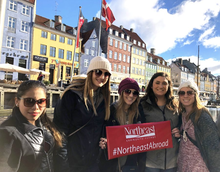 Northeast international business students work with their counterparts at Danish college