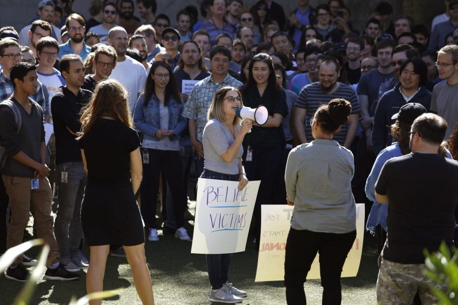 Google employees in Venice joined their counterparts around the world and staged a mass walkout Thursday, Nov. 1, 2018, in protest of sexual misconduct at the company. (Jay L. Clendenin/Los Angeles Times/TNS)