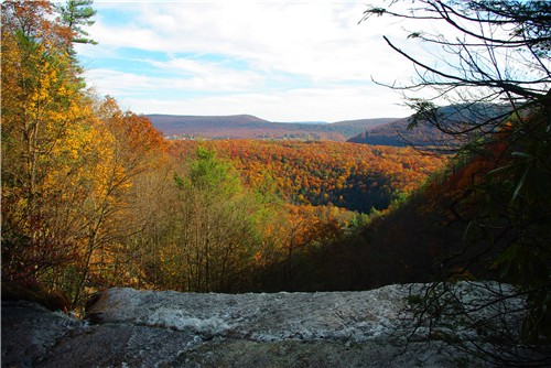Looking out at the fall colors of Jim Thorpe, Penn.