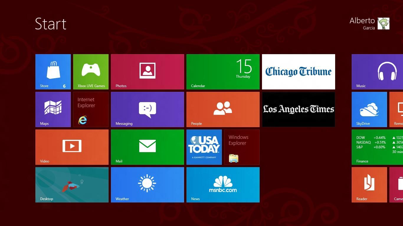 A Screenshot of my start screen on Windows 8