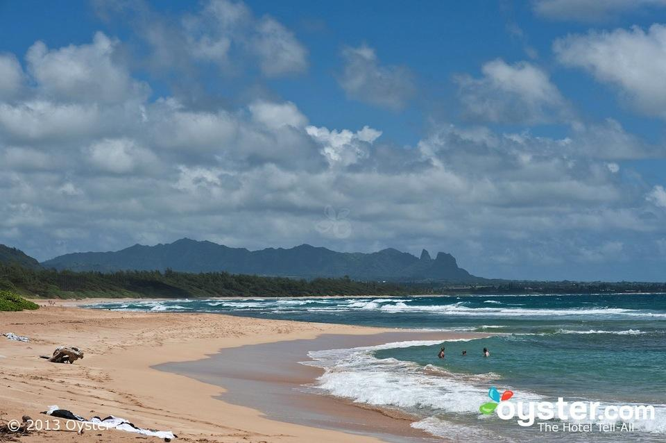 Kauai Beach Resort in Hawaii, is a private, quiet property with large rooms, gorgeous sunrises over a rugged beach, a water slide and sand-bottom pool, and a romantic bar with live music.