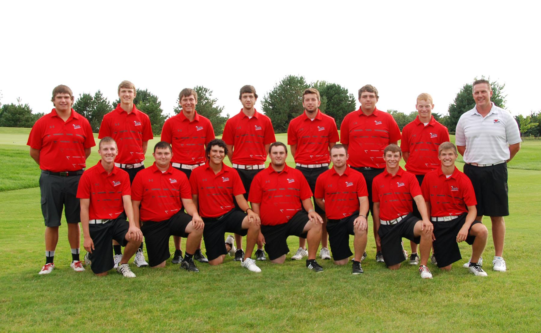Members of the Northeast Community College Golf Team include (front row, left to right), Preston Peters, Bancroft; Dustin Vinson, Grand Island; Michael Bergquist, Cheyenne, WY; Alex Dredge, Valentine; Conner Watson, Omaha;  Corby Forbes, Brunswick; and Michael Brockhaus, Humphrey. Back row (left to right) Gage Garnas, Julesburg, CO; Lucas Bradfield, Beemer; Trever Miller, Lexington; Justin Bruntz, Ft. Collins, CO; Justin Mlnarik, Linwood; Stephen GrandPre, Cheyenne, WY; Trevor Reiss, Ogallala; and Brad Bosh, coach. (Courtesy Photo)