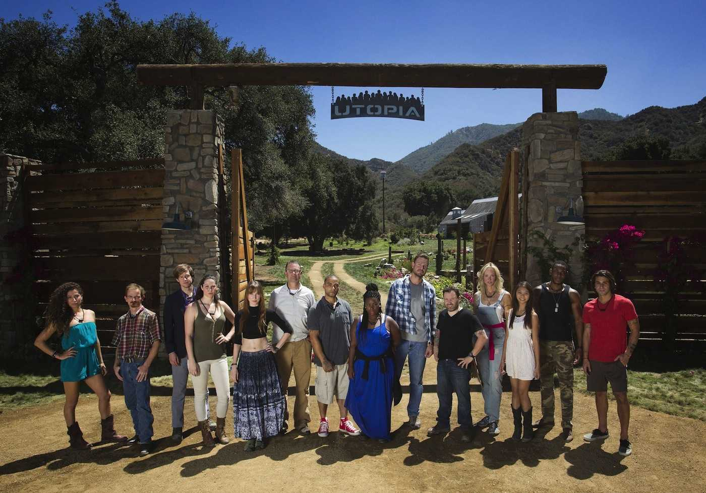 The pioneers, from left: Nikki Noce, Red Vanwinkle, Mike Quinn, Hex Vanisles, Dedeker Winston, Jonathan Lovelace, Dave Green, Amanda Scott, Josh Johnston, Rob Hospidor, Bella Chartrand, Bri Nyugen, Aaron Thomas, and Chris Tuorto enter UTOPIA and begin the birth of a brave new world. UTOPIA premiers on a special night, Sunday, Sept. 7 ( 8:00-10:00 PM ET/PT) before continuing in its regular time period, Tuesday, Sept. 9 ( 8:00-9:00 PM ET/PT), with six special broadcasts on Fridays ( 8:00-9:00 PM ET/PT), beginning Sept. 12 on FOX.