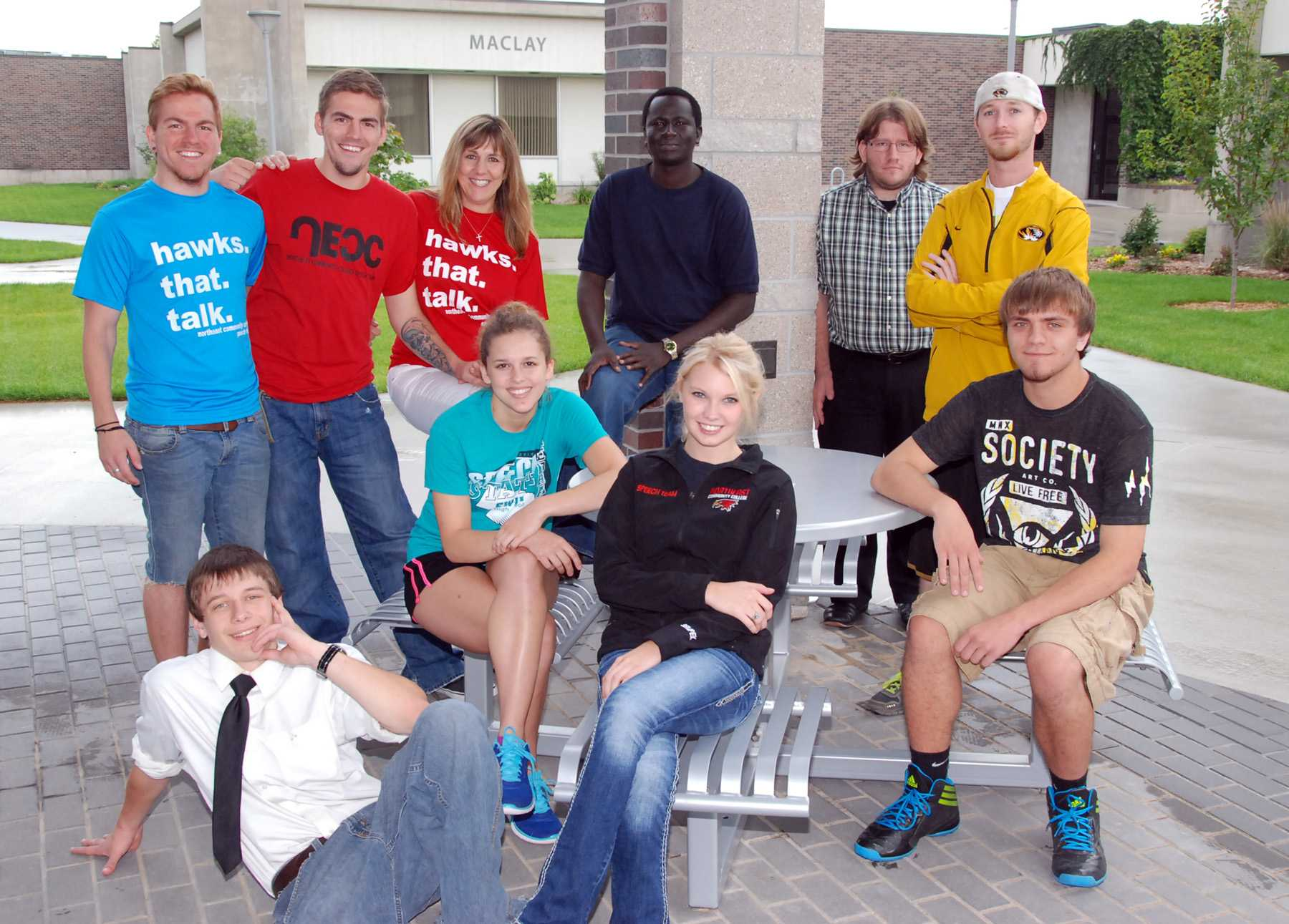 Members of the 2014-15 speech team at Northeast Community College include (front row, from left) Dylan Arnold, Jasmine Lee Phander, Drew Sempek, and Timmy Browning. Back row (from left) William Nelson, Robert Nelson, Terry Nelson, head coach, Musa Fofana, Ronnie Ware, assistant coach, and Joe Lose. (Courtesy Photo)