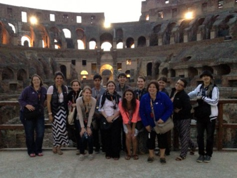 Northeast Community College students and faculty pose in front of the Coliseum in Rome on a recent College-sponsored trip to Italy and Spain. (Courtesy Pam Saalfeld/Northeast Community College)