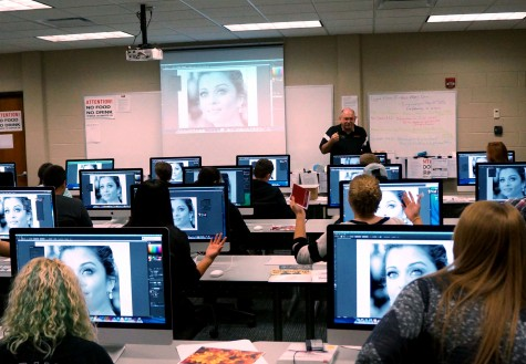 Graphic Design instructor Phil Schimonitz introduces Career Day participants to Adobe Illustrator and careers in Graphic Design and Visual Communications.