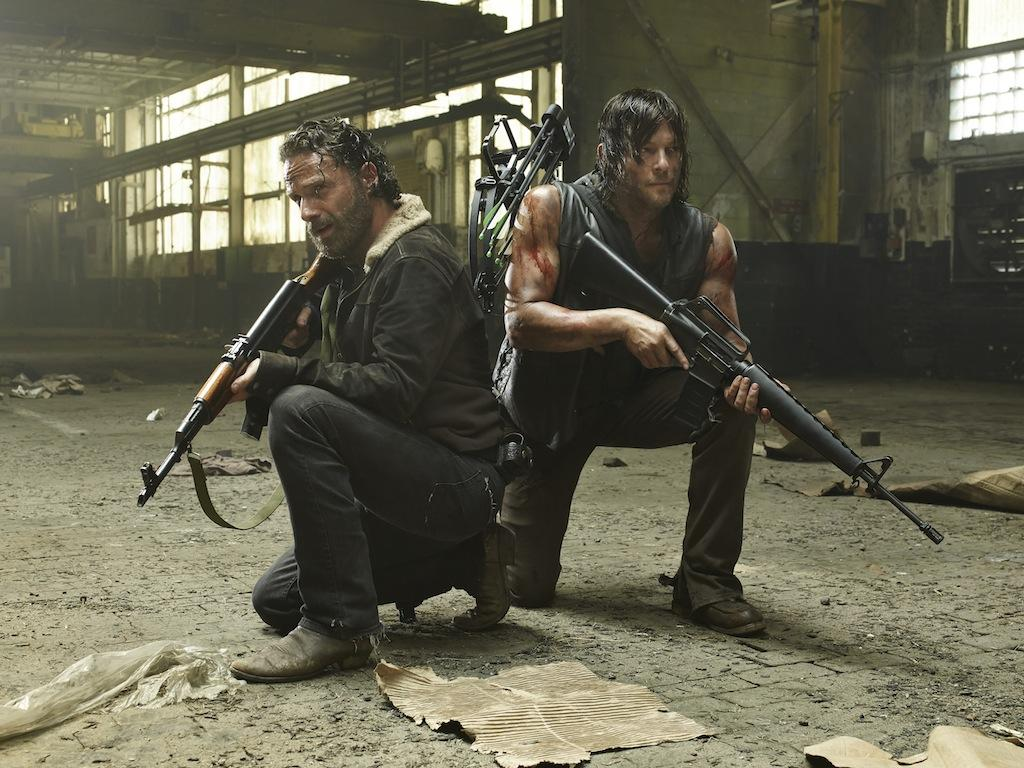 Andrew Lincoln and Norman Reedus star as Rick Grimes and Daryl Dixon in