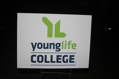 Young Life college promotional sign