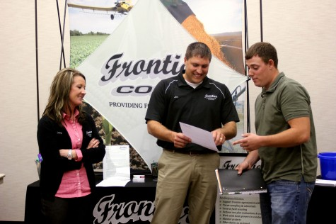 Linne Vavrina (left), Marketing Coordinator and Jon Brabec (center), Sales Manager for Frontier Coop speak with Northeast Agronomy major and former Frontier intern, Andrew Van Hoozer (right), Elkhorn. (Courtesy Photo)
