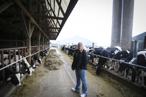 Michele Rohe is pictured at her dairy farm near Freeport, Minn.