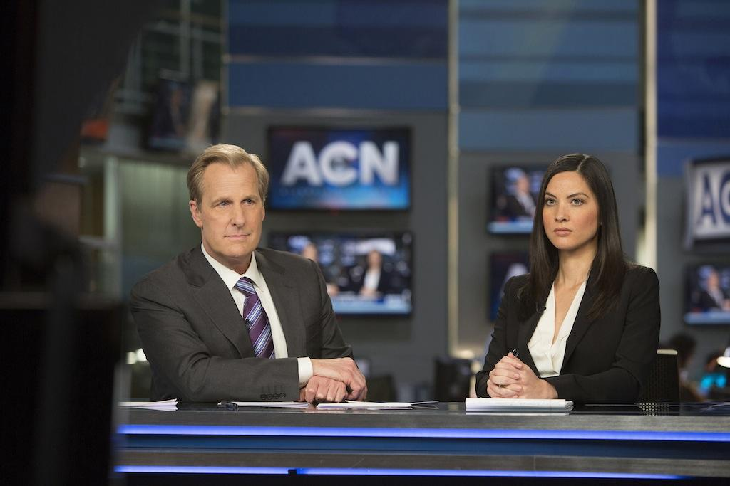 Jeff Daniels and Olivia Munn in the season three premiere of