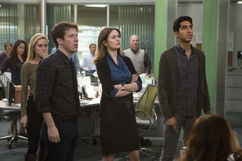 "ohn Gallagher, Jr., Emily Mortimer and Dev Patel in the season three premiere of ""The Newsroom."""