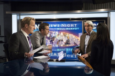 "Jeff Daniels, Thomas Sadoski, Sam Waterston and Olivia Munn in the season three premiere of ""The Newsroom."""