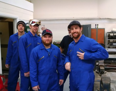 Northeast Community College auto body students prepare to work in a shop on the campus of North Lindsey College in Scunthorpe, England. The students and their instructor, Dave Beaudette, traveled to England recently as part of an exchange program between the two schools. Pictured (from left) are Kyle Ebel, Scribner, Caleb Fowlkes, Meadow Grove, William Weiland, Decatur, Dustin Johansen, Friend, (partially hidden) and Kellen Wells, Norfolk. (Courtesy Dave Beaudette/Northeast Community College)
