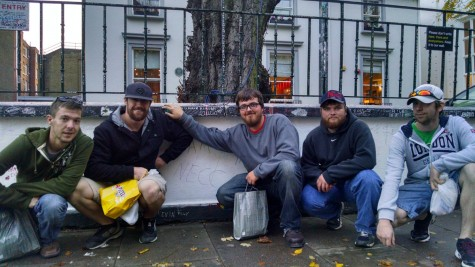 Like thousands of others before them, Northeast Community College auto body students left a mark (NECC) on the wall outside Abbey Road Studios in London. The students were in England recently as part of an exchange with North Lindsey College in Scunthorpe. Pictured (from left) are Kyle Ebel, Scribner, Kellen Wells, Norfolk, Dustin Johansen, Friend, William Weiland, Decatur and Caleb Fowlkes, Meadow Grove. (Courtesy Dave Beaudette/Northeast Community College)