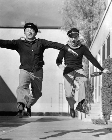 """Bing Crosby and Bob Hope frolic around the lot between scenes on a """"Road"""" picture. PBS's new documentary """"American Masters: Bing Crosby Rediscovered"""" airs Tuesday on PBS."""