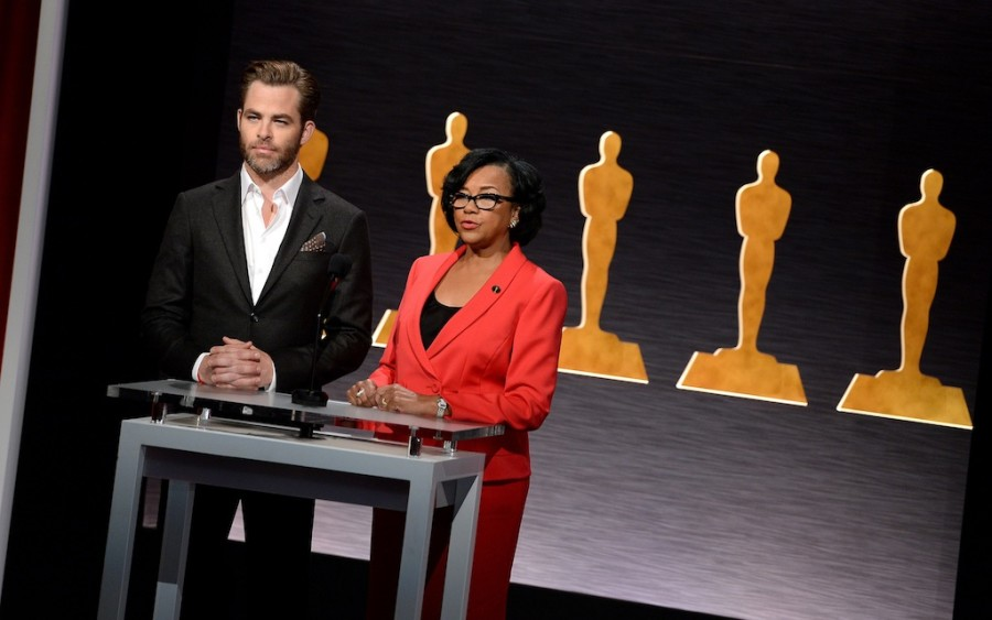 Chris+Pine+and+Academy+President+Cheryl+Boone+Isaacs+announce+the+87th+Academy+Awards+Nominations+Announcement+at+the+AMPAS+Samuel+Goldwyn+Theater+on+Jan.+15%2C+2015+in+Beverly+Hills%2C+Calif.
