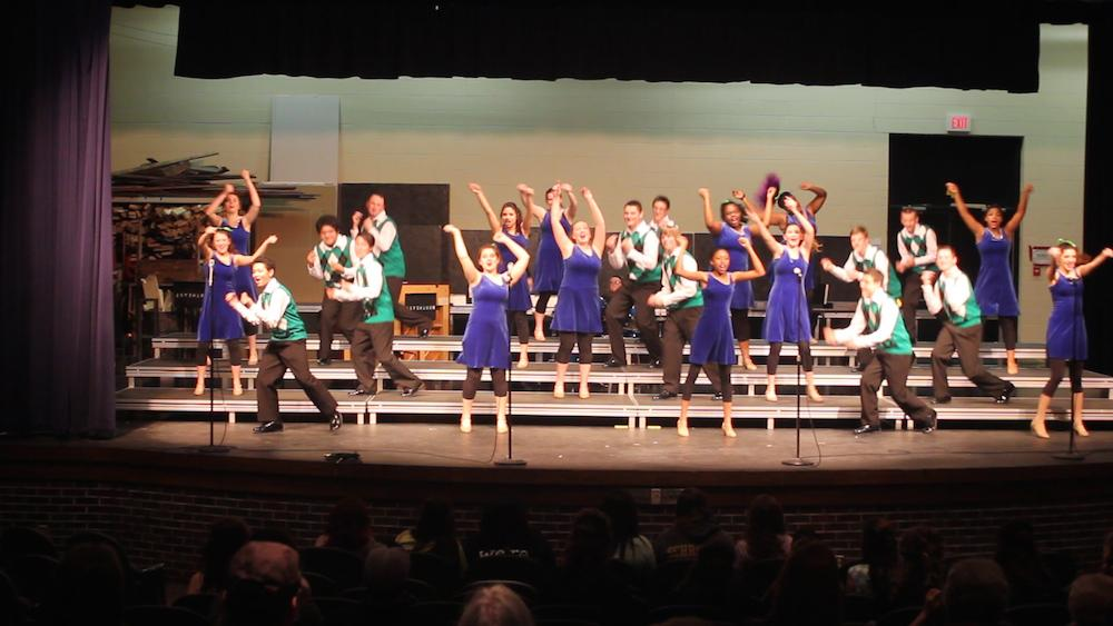 Students from Bellevue West #2  perform hits like We're All In This Together from High School Musical and Nicest Kids In Town from Hairspray.