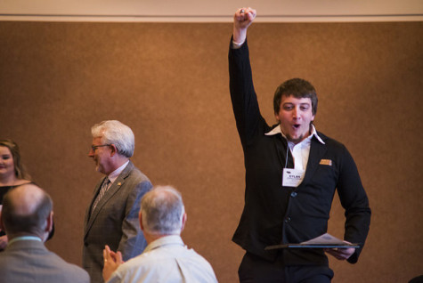 Dylan Strohl-Yeomans celebrates a win at the NCMA Awards