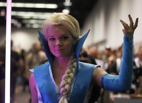 "Molly Ingham, of South Carolina, dresses as ""Seth Elsa"" during the Star Wars Celebration, April 16-19 at the Anaheim Convention Center in Anaheim, Calif., on Thursday, April 16, 2015."