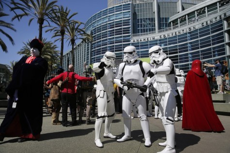 Star Wars characters from the worldwide 501st Legion costume organization at the entrance to the Star Wars Celebration, April 16-19 at the Anaheim Convention Center in Anaheim, Calif., on Thursday, April 16, 2015.