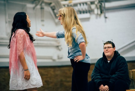 Student Katie Bot ( the Evil stepmother) interacts with Jr. high students in this scene.