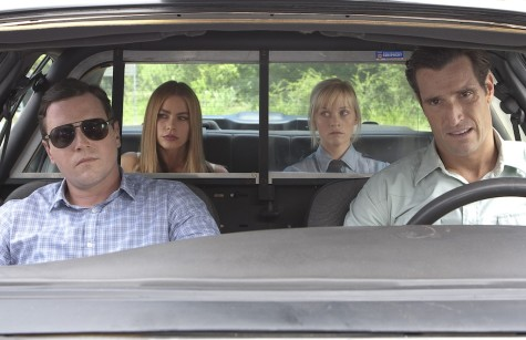 "Michael Mosley (Detective Dixon), from left, Sofia Vergara (Daniella Riva), Matthew Del Negro (Detective Hunter) and Reese Witherspoon (Cooper) star in the comedy ""Hot Pursuit."" (Photo courtesy Warner Bros. Pictures/TNS)"