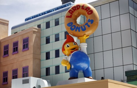 The marquee for Lard Lad Donuts greets visitors at Universal Studios Hollywood. (Al Seib/Los Angeles Times/TNS)
