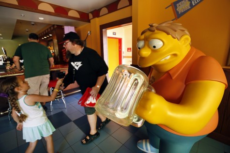 "A Barnie character from ""The Simpsons"" in Moe's Tavern, one of several eateries at Universal Studios Hollywood. (Al Seib/Los Angeles Times/TNS)"