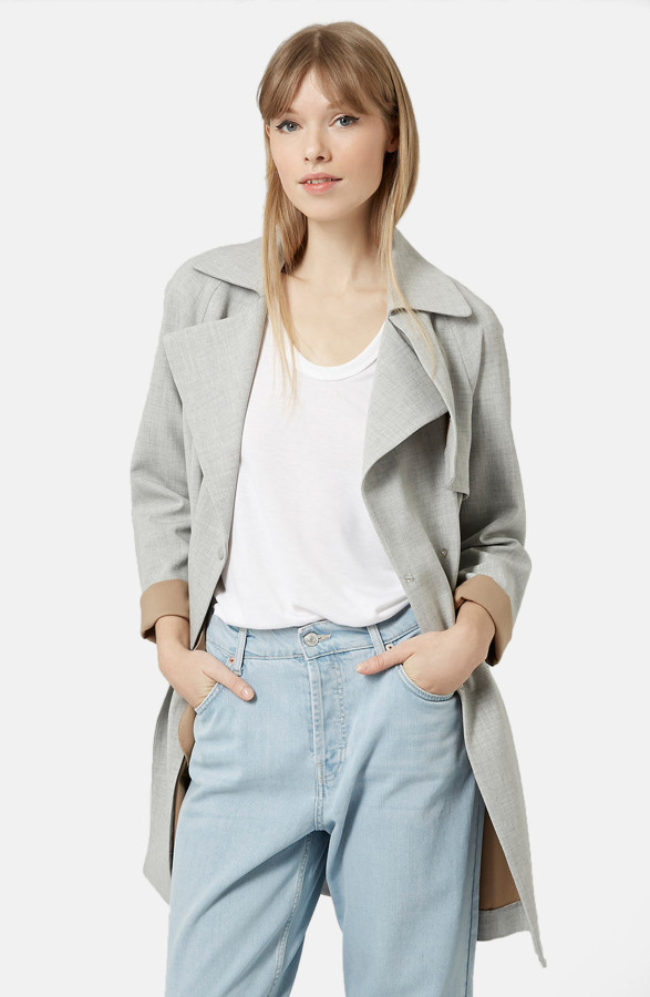 A+soft+trench+is+a+key+look+for+late+summer+into+fall.+Topshop+double-breasted+trench+coat+in+gray+with+contrast+camel+lining%2C+%24160%2C+nordstrom.com.+%28Nordstrom%29