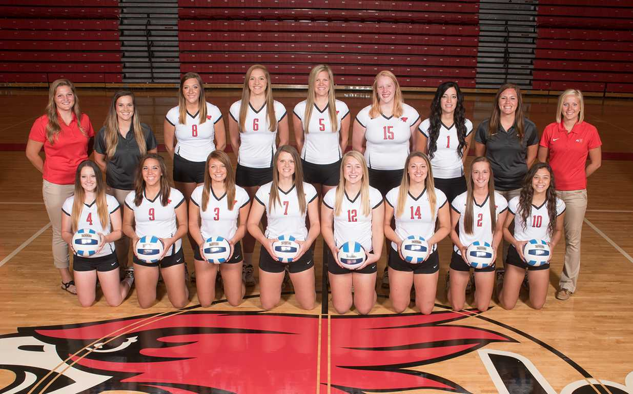 Members of the 2015 Northeast Community College Hawks Volleyball Team include (front row, from left) Kelsie Myers, Kiara Lopez, Tabitha Kander, Taryn Luedtke, Nichelle Stolzer, Rachel Brandl, Mackenzie Wecker, and Meagan Backer. Back row (from left) Haley Roelle, volunteer assistant coach, Amanda Schultze, head coach, Kelsey Shoemaker, Courtni Kunz, Layne Mitchell, Lexi Sokol, Whitney Valasek, Sarah Oligmueller, assistant coach, and Sammy Sullivan, student manager. (Courtesy Photo)