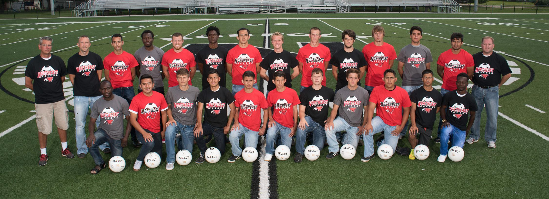 Members of the Northeast Community College men's soccer team include (front row, from left) Kobi Hyppolite, Miguel Andrade, Connor Herrod, Juan Alvarado, Jose Magana, Saul Magana, Marcus Holmberg, Brady Fister, Christian Chinchilla, Mark Murua, and Julien Koala. Back row (from left) Tom Beutler, assistant coach, Chad Miller, head coach, Waleed Kadhim, Kevin Koffi, Mitchell Plance, Geremy Dable, Gustavo Magana, Justin Sullivan, Ryan Olmer, Clayton Patton, Taylor Thayer, Alex Rojas, Mario Cortez, and Shawn Tillotson, assistant coach. Not pictured: Fernando Lopez, Christian Zazueta and Nathan Broekemeier. (Courtesy Photo)