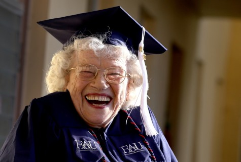 Betty Reilly, 89, in Miramar, Fla., on December 9, 2015, walked across the stage at Florida Atlantic University to receive a Bachelor of Arts degree in English. (Mike Stocker/Sun Sentinel/TNS)