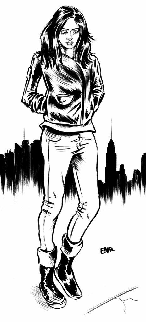 300 dpi Erik Nelson Rodriguez illustration of Marvel character and superheroine Jessica Jones as played by Krysten Ritter on the hit Netflix show 'Jessica Jones.' TNS