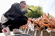 Rapper G-Eazy interacts with the crowd while guest performing with Kehlani at the Austin City Limits music festival on Oct. 4, 2015 in Austin, Texas. (Daniel DeSlover/Zuma Press/TNS)