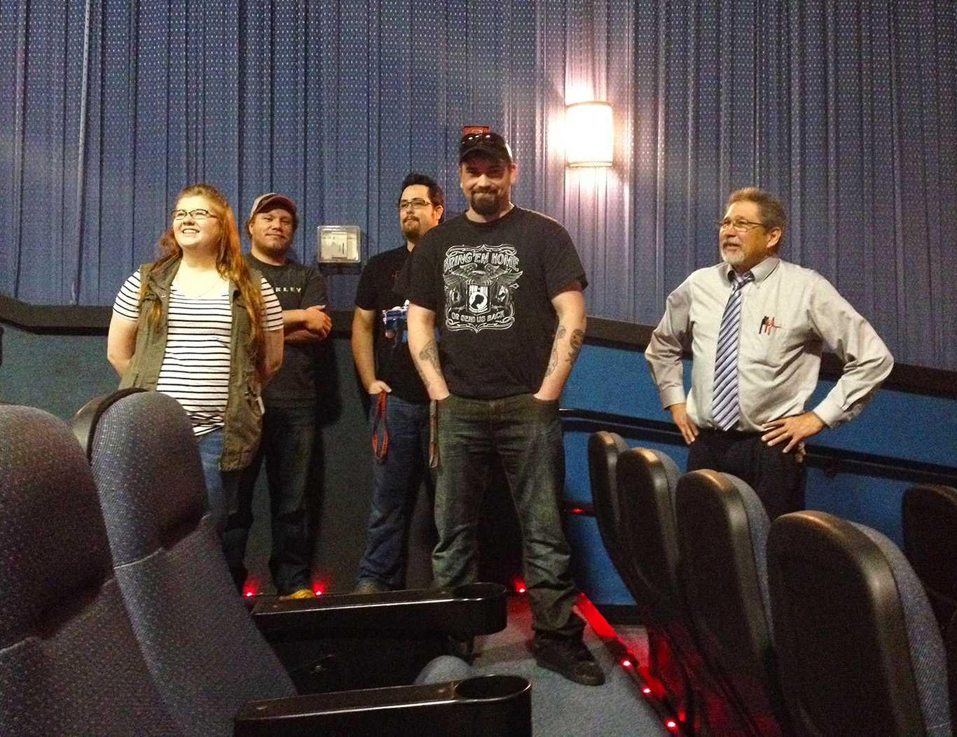 Digital Cinema and Media Students (from left) Madison Hill, Drew Dolezal, Tynan Vetter, Josh Ottis, Instructor Timothy Miller