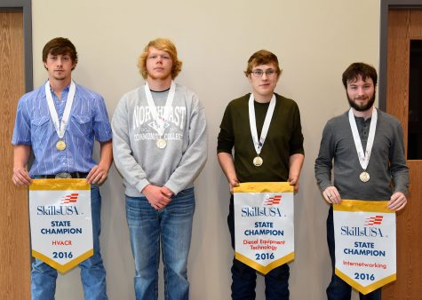 Four Northeast Community College students were named state champions at the Nebraska SkillsUSA State Leadership and Skills Conference recently in Omaha. Pictured (from left) are James Buresh, David City, (HVAC), Chase Orender, Columbus, (sheet metal), Ian Folkers, Hartington, (diesel equipment technology), and Clint Jurgens, Madison, (internetworking). (Courtesy Photo)