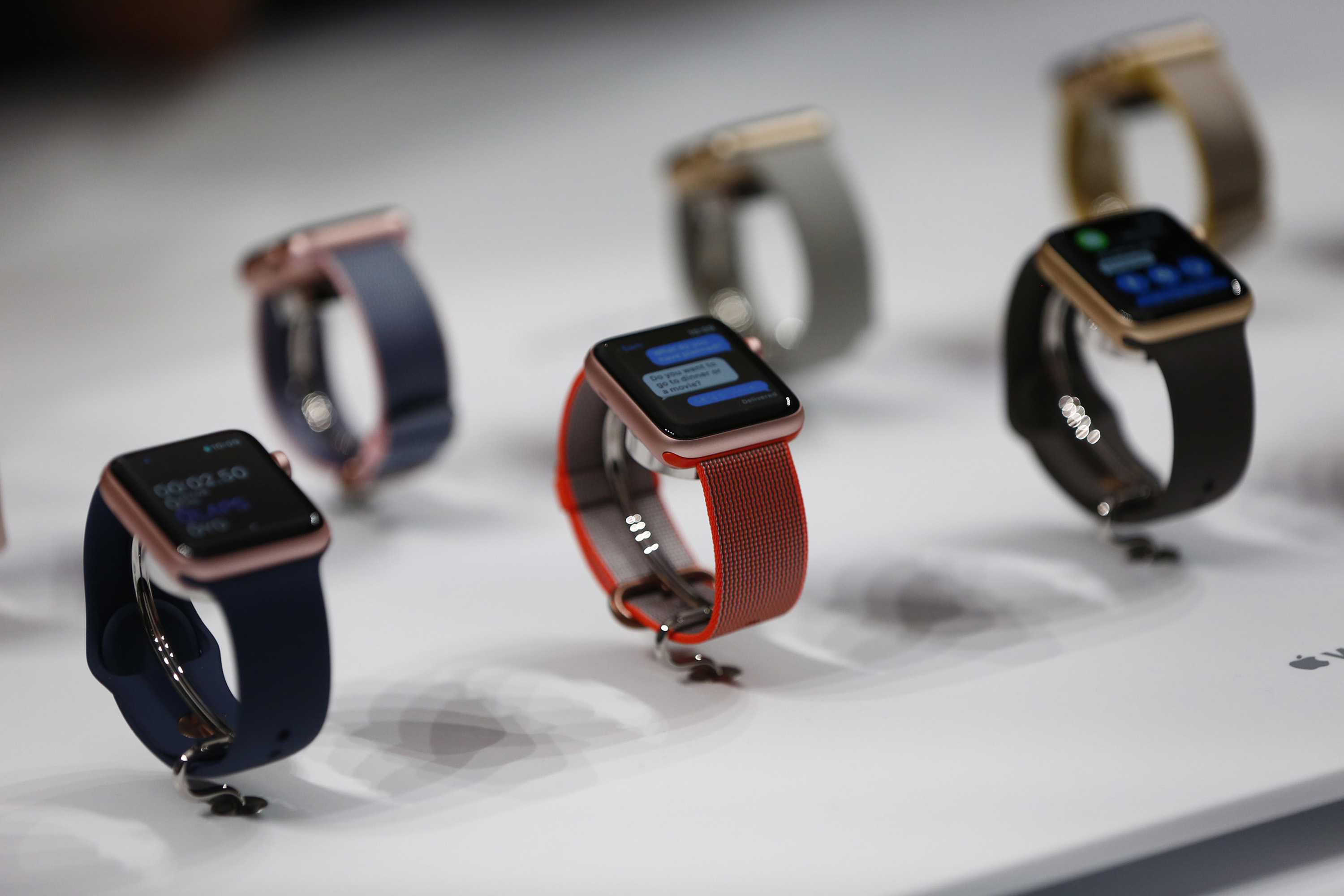 Apple Watch Series 2 are on display during the product launch of the iPhone 7 at the Bill Graham Civic Auditorium in San Francisco on Wednesday, Sept. 7, 2016. (Gary Reyes/Bay Area News Group/TNS)