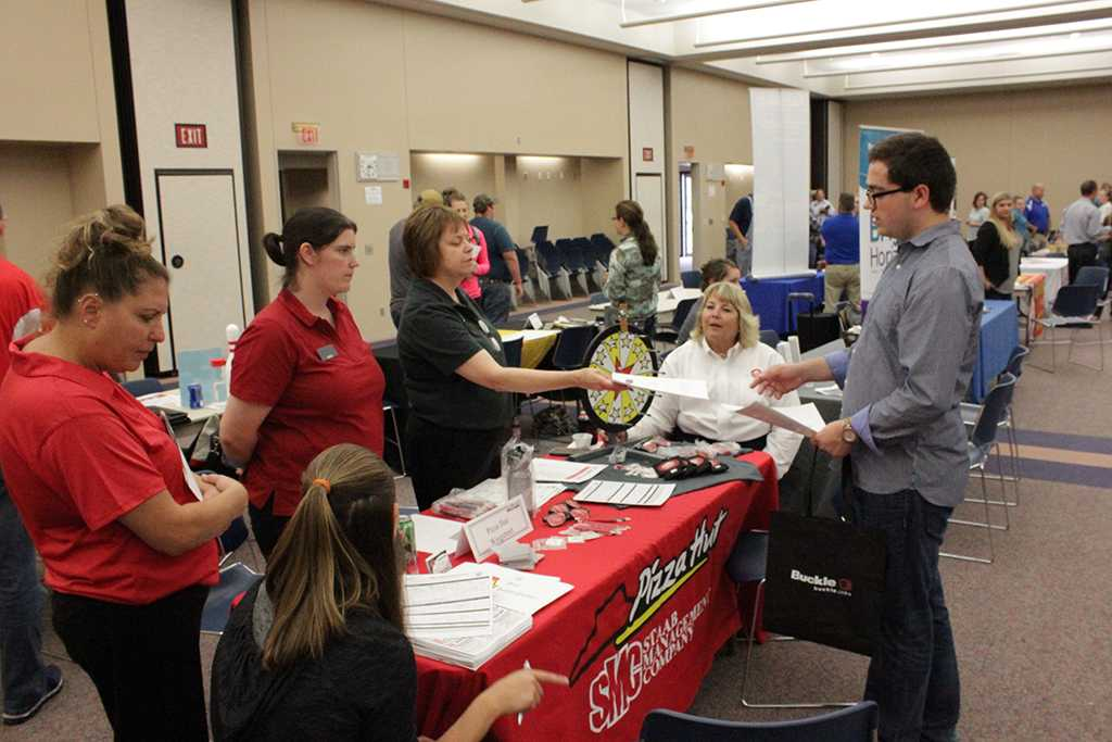 Northeast Community College students talk to employers about jobs.