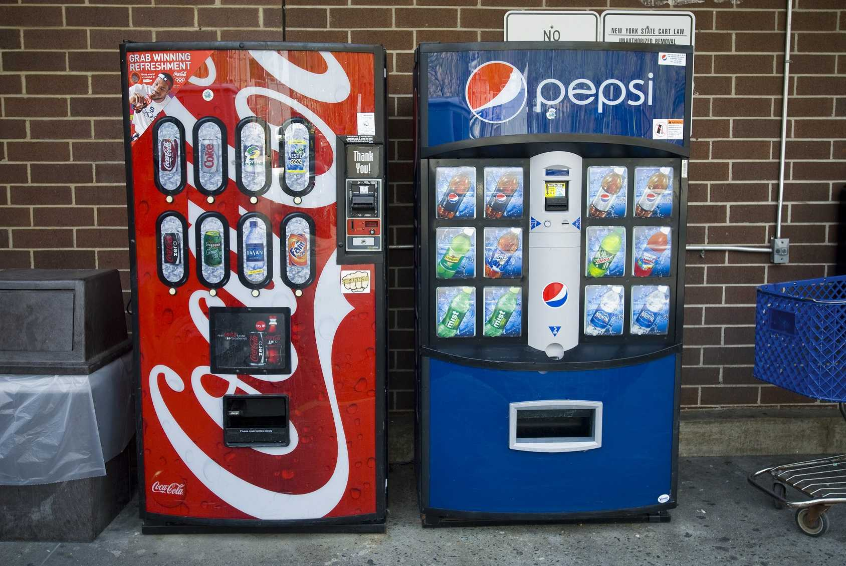 Pepsi-Cola and Coca-Cola vending machines side by side in New York in 2010. (Richard B. Levine/Sipa USA/TNS)