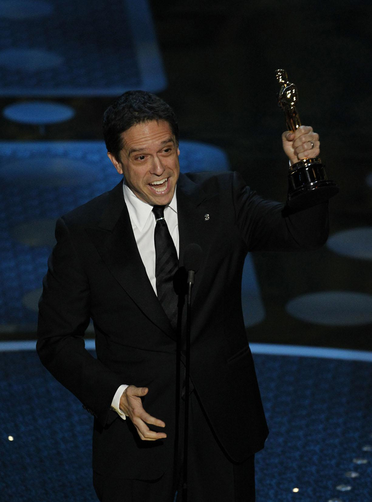 "Director Lee Unkrich holds the Oscar for Best Animated Feature for ""Toy Story 3"" during the 83rd Annual Academy Awards at the Kodak Theatre in Los Angeles, California, on Sunday, Feb. 27, 2011. (Liz O. Baylen/Los Angeles Times/MCT)"