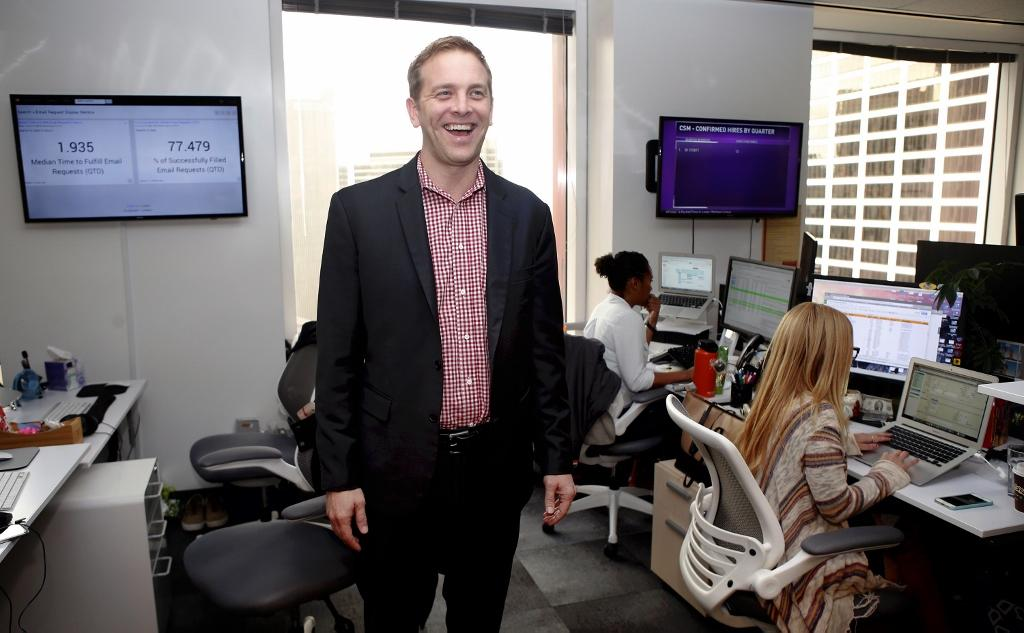 Jon Bischke, CEO of San Francisco startup Entelo, poses Thursday, Jan. 19, 2017, on the 24th floor of their offices in San Francisco, Calif. Entelo has developed software to help corporate recruiters find candidates for open positions. (Karl Mondon/Bay Area News Group/TNS)
