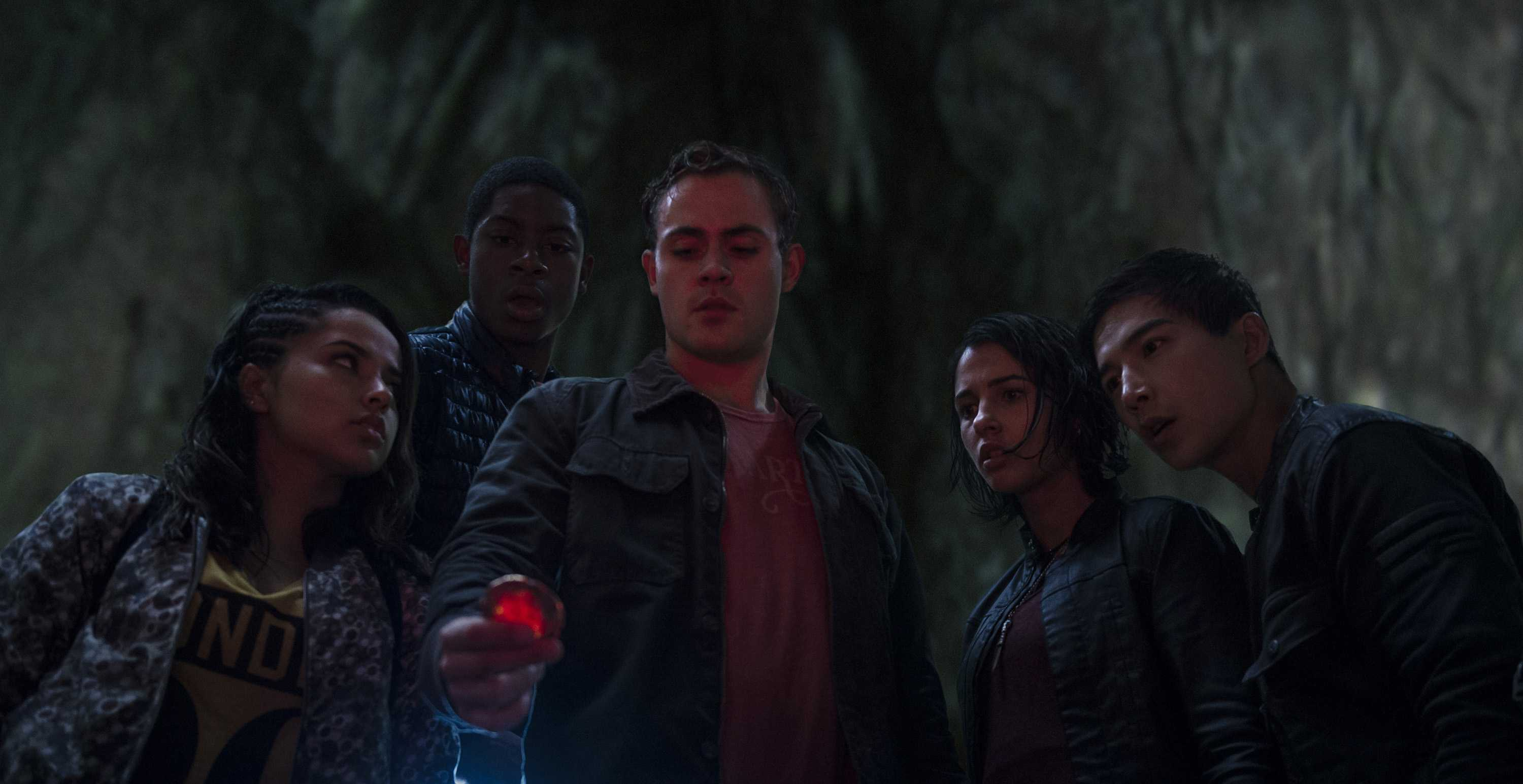 From left, Trini (Becky G), Billy (RJ Cyler), Jason (Dacre Montgomery), Kimberly (Naomi Scott), and Zack (Ludi Lin) in